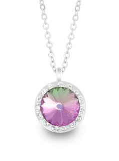 Forever Crystals Necklace w/ Halo Pendant (Vitral Light)