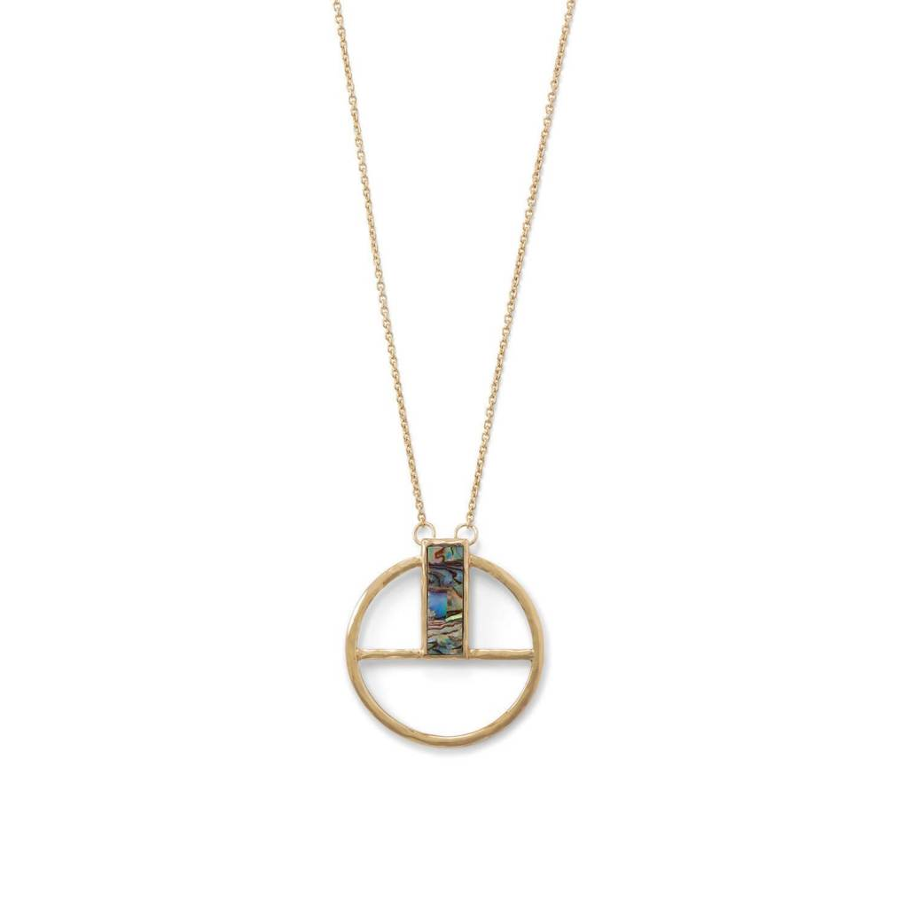 30 inch Geometric Round Pendant with Shell Glass