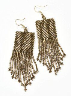 Ink + Alloy Gold Seed Bead Earrings With Fringe