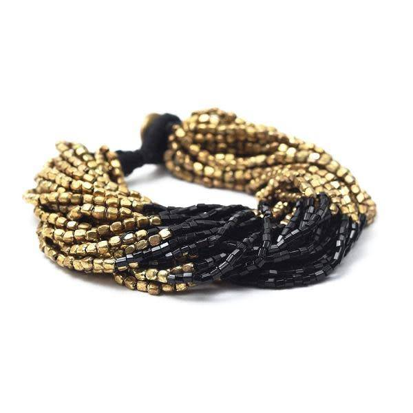 Ink + Alloy Multi-Strand Gold and Black Bead Bracelet