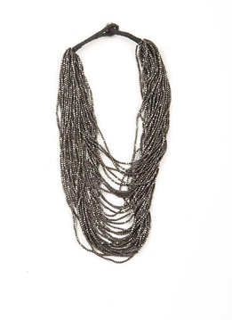 Ink + Alloy Gunmetal Seed Bead 22 inch Necklace