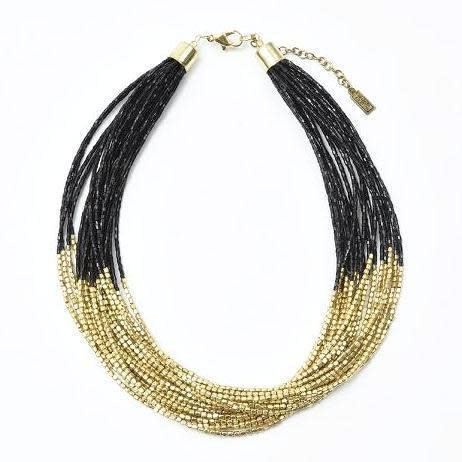 Ink + Alloy Beaded Gold and Black Multi-Strand Necklace