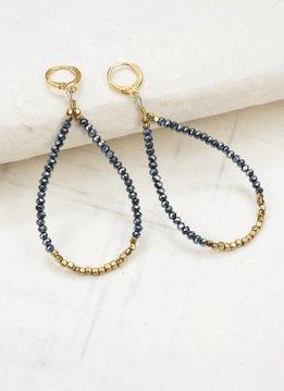 Ink + Alloy Hematite and Metallic Blue Crystal Loop Earrings with Drop
