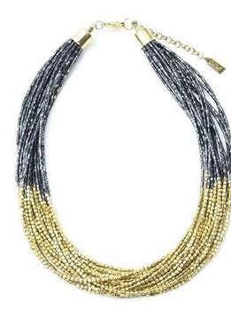 Ink + Alloy Beaded Gold and Blue Multi-Strand Necklace