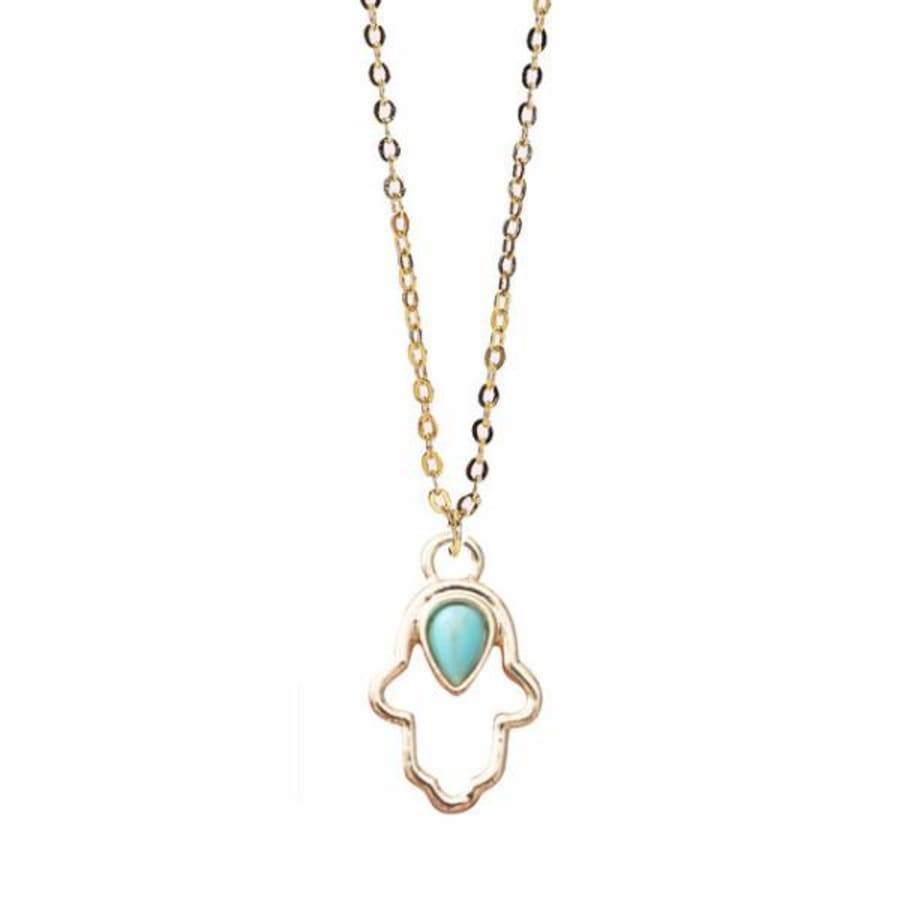Less is More 14k Gold Filled Turquoise Hamsa Necklace