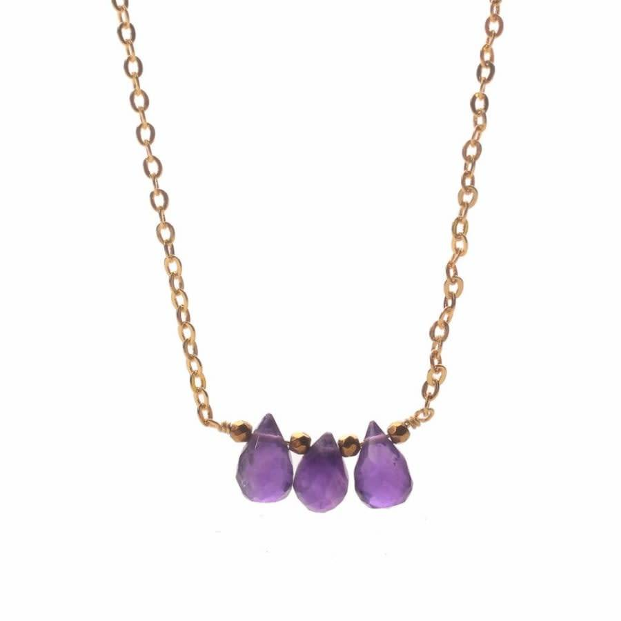 Less is More 14K Gold Filled Triple Amethyst Necklace