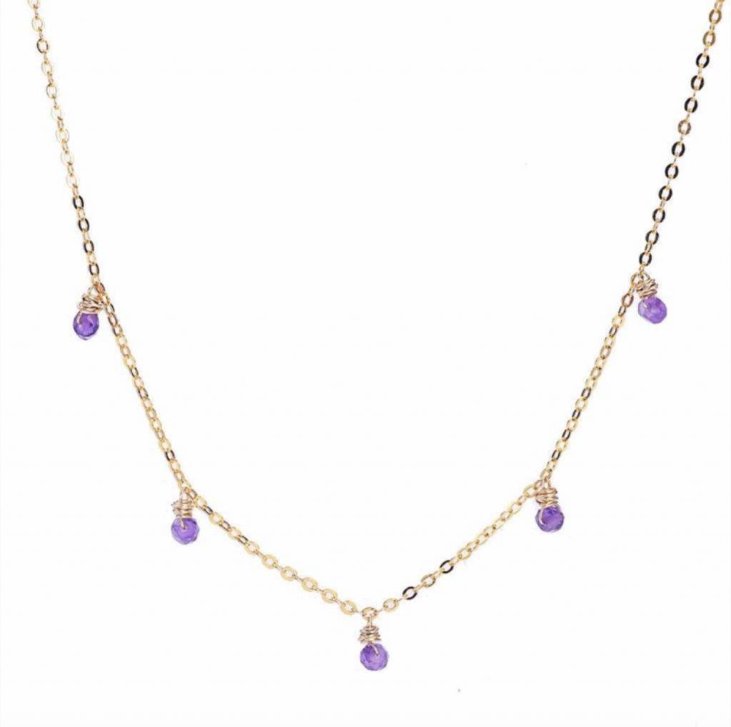 Less is More 14K Gold Filled Amethyst Confetti Necklace