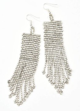 Ink + Alloy Seed Bead Silver Earrings With Fringe