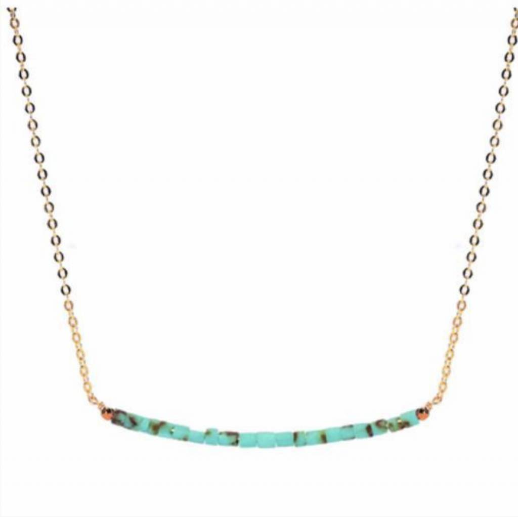 Less is More 14k Gold Filled Blue and Brown Turquoise Smile Necklace