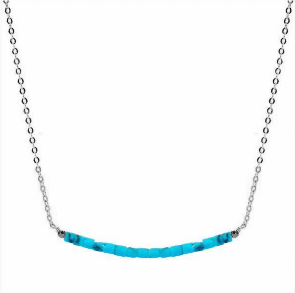 Less is More Sterling Silver Blue Turquoise Smile Necklace