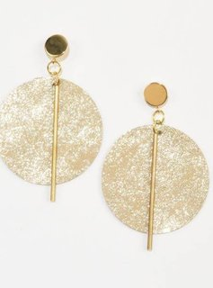 Ink + Alloy Champagne Leather Circle with Brass Post Earrings 3""