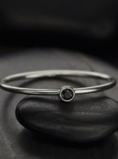 Sterling Silver Black Birthstone Ring