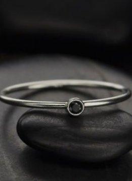 Sterling Silver Black Birthstone Ring