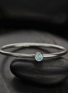 Sterling Silver March Birthstone Ring