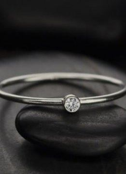 Sterling Silver April Birthstone Ring