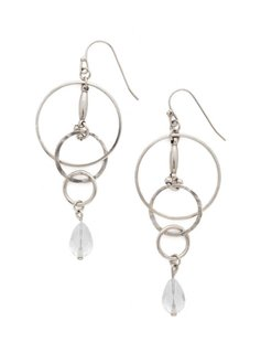 "Sorrelli Interlocking Circles Antique Silver 2 3/4"" Earrings with a Crystal Bead"