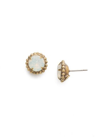 Sorrelli Simply Stud 3 8 Antique Gold White Opal Earring