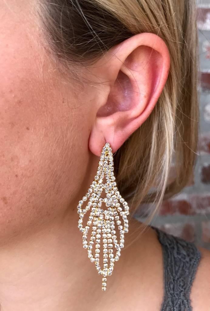 Bancroft Crystal Chandelier Earring- Gold