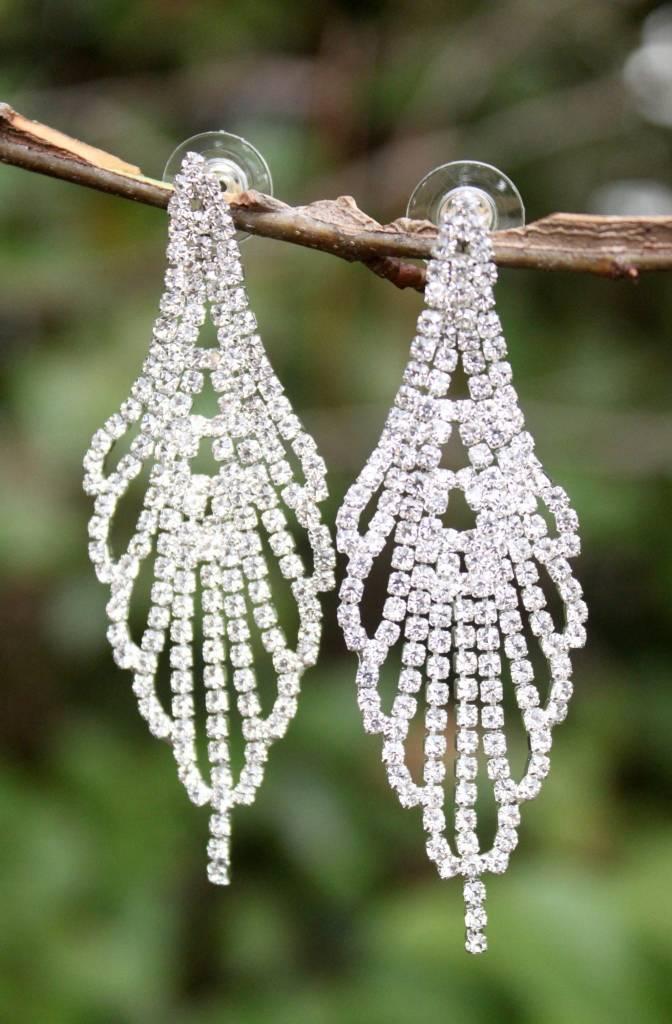 Bancroft Crystal Chandelier Earring- Silver