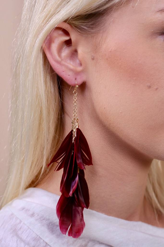 Aliso Multi Feather Drop Earring- Burgundy