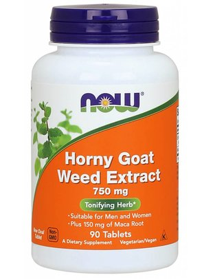 NOW FOODS HORNY GOAT WEED 750MG  90 TABS
