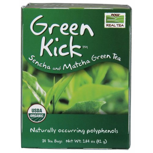 NOW GREEN KICK TEA BAGS  24 BAGS