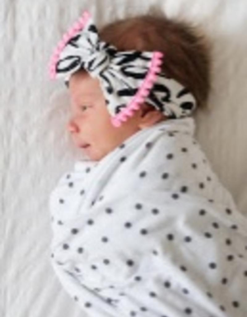 Baby Bling TRIMMED PRINTED KNOT: xoxo + neon pink pom
