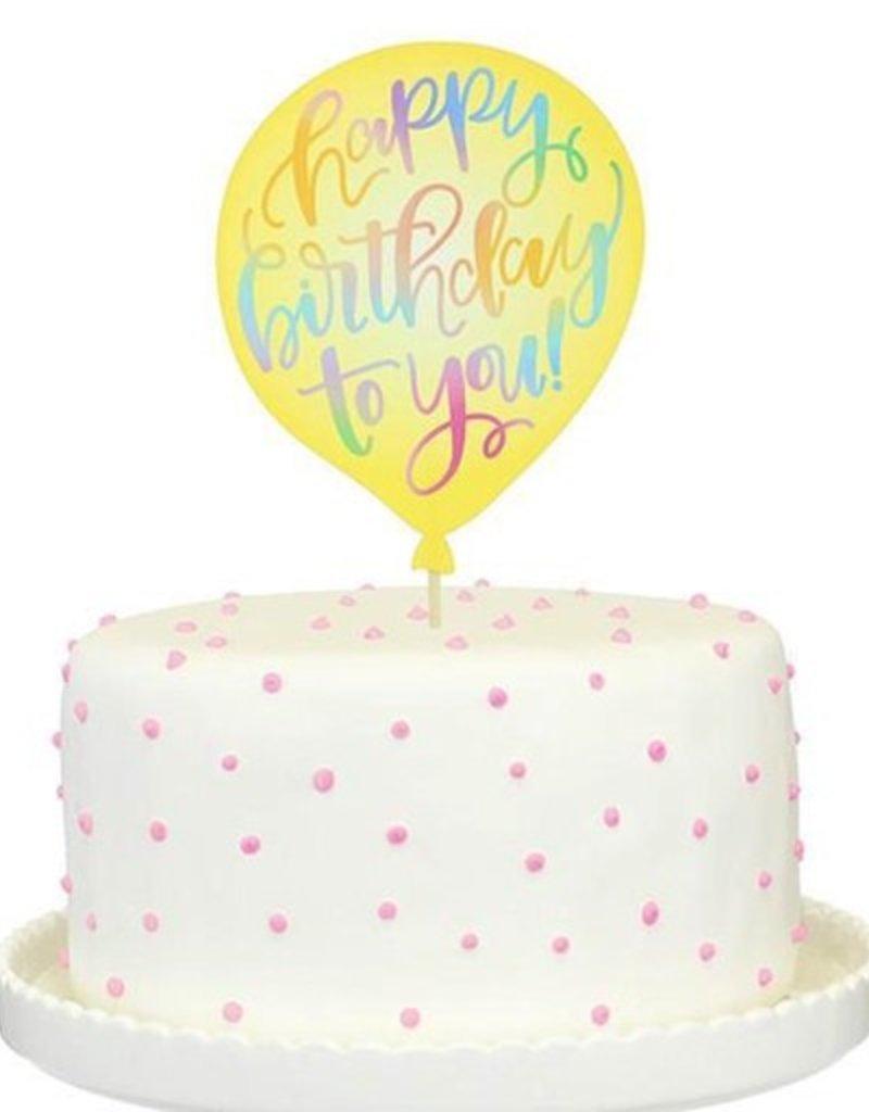 alexis mattox design yellow birthday balloon cake topper