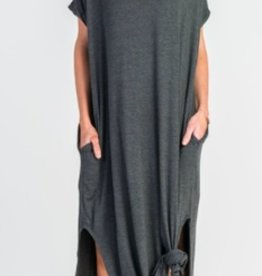 charcoal stretch jersey maxi dress