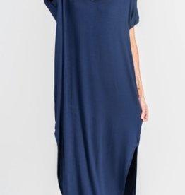 denim stretch jersey maxi dress