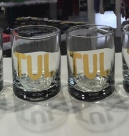 set of 4 gold TUL rocks glass