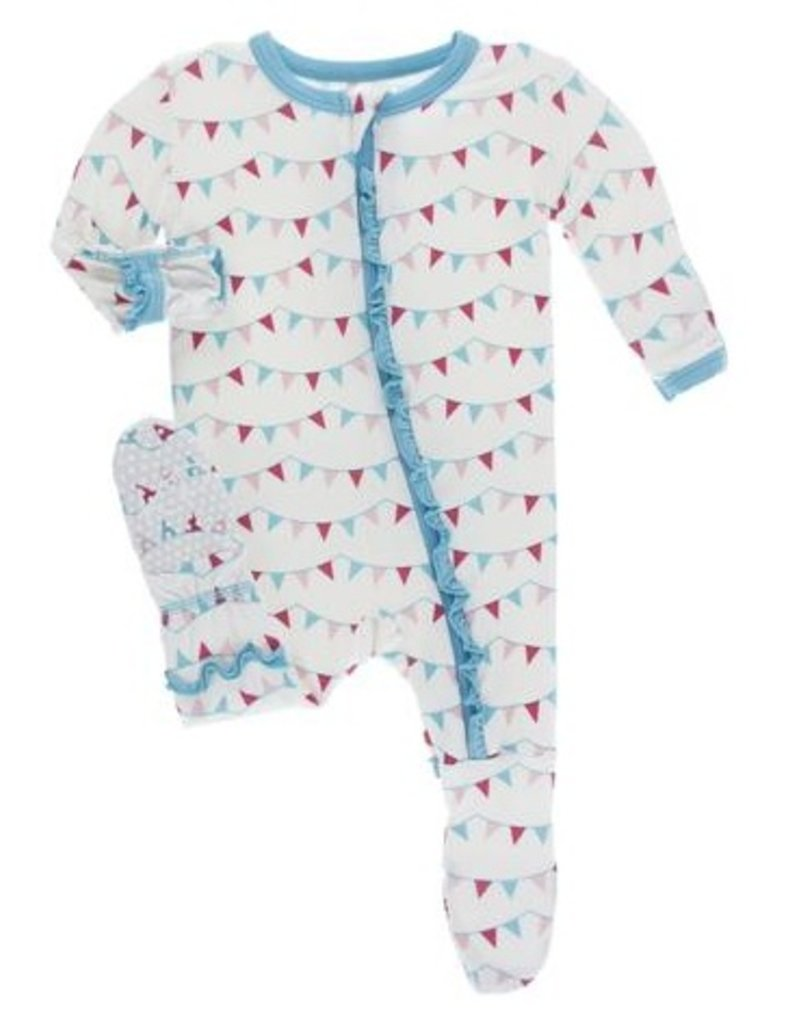 kickee pants flamingo party flags ruffle layette gown converter and ...