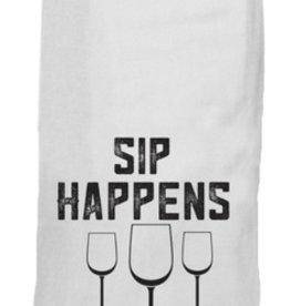 twisted wares sip happens, wine a lot tea towel