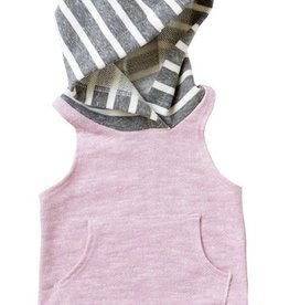 lilac & chunky stripe sleeveless hoodie FINAL SALE