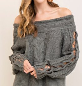 entro cable knit off the shoulder sweater