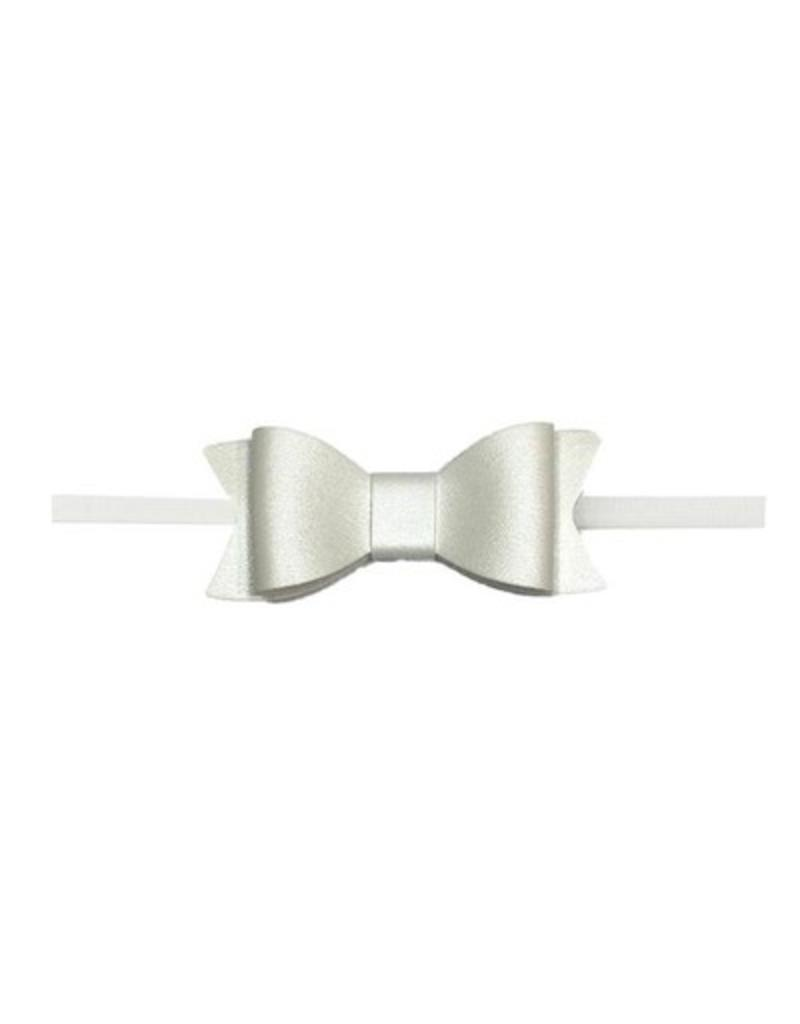 Baby Bling skinny white leather bow headband