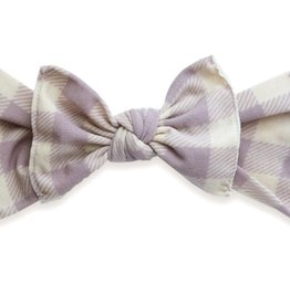 Baby Bling mauve/ivory buffalo plaid printed knot