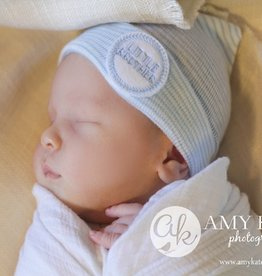 blue and white striped newborn hat - little brother