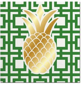 slant pineapple foil bev napkins