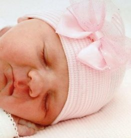 pink and white striped newborn hat with pink sparkle bow