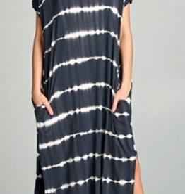 black tie dyed maxi dress