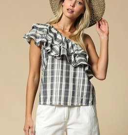 checkered one shoulder top