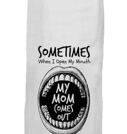 twisted wares mom mouth tea towel