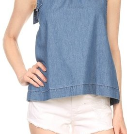flowy denim neck tie tunic tank