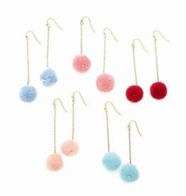 two's company hanging pom pom earrings