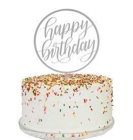 alexis mattox design happy birthday cake topper in silver mirror