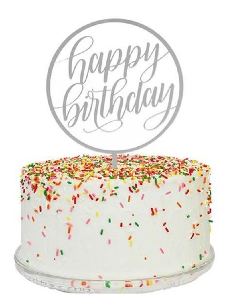 alexis mattox design happy birthday cake topper in silver mirror