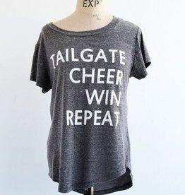 LivyLu tailgate cheer win repeat baseball hem tee