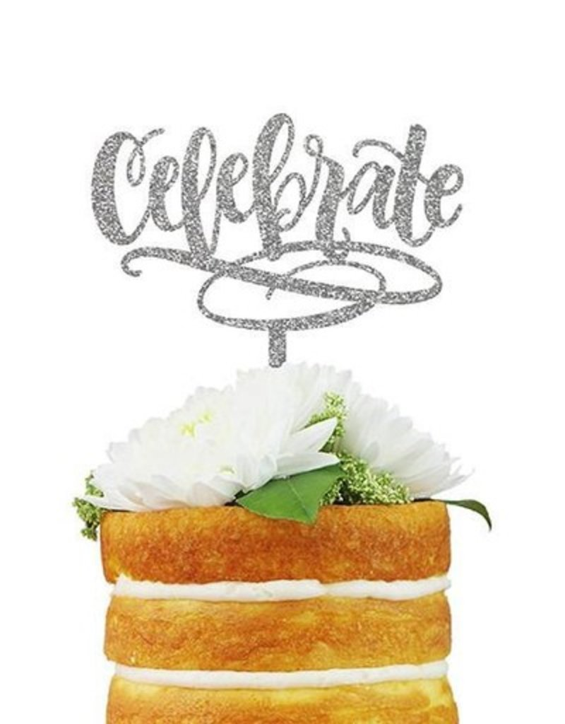 alexis mattox design celebrate silver glitter cake topper