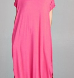fuschia stretch jersey maxi dress